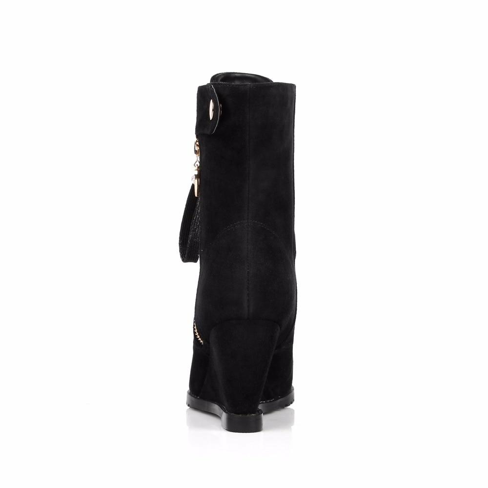 Furtado F Wedges 2017 Rei Leder High Heels Winter Spitz Schuhe Stiefeletten Mode verschluss Arden rBWQeCodx
