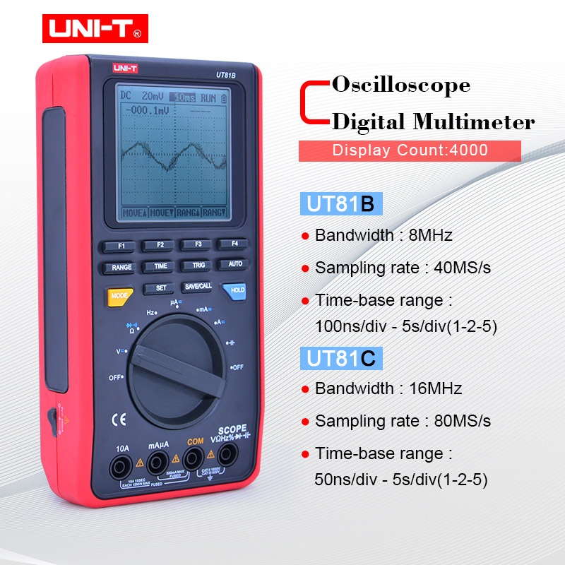 UNI T UT81B C handheld digital oscilloscope multimeters 8MHz 16MHz 4000 Counts Scope Digital Multimeters USB