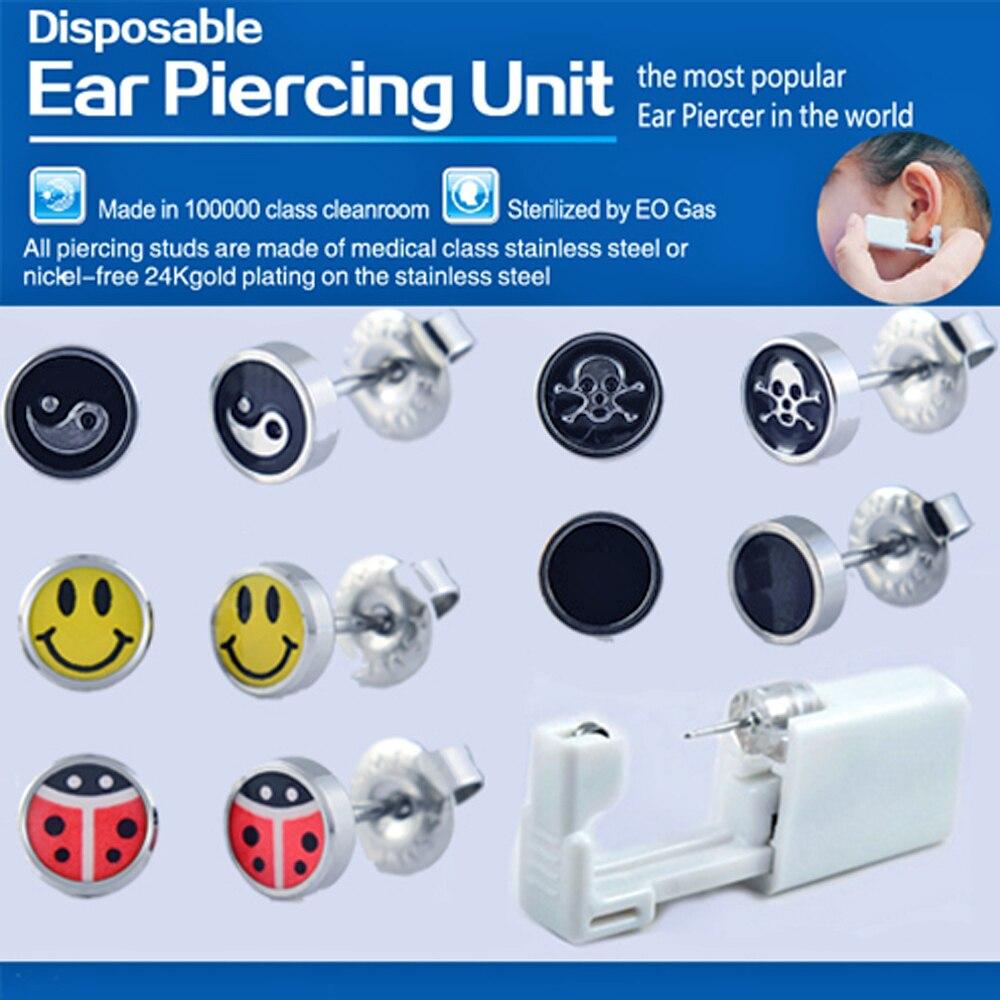 BOG-5Units New Design Disposable Safe Sterile Unit Ear Stud Piercing Gun NO PAIN Piercer Tool Machine Kit Earring Body Jewelry