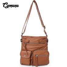 купить CGMANA Women Handbag 2018 Fashion Vintage Multi-Pocket Crossbody Bag Female Shoulder Bag Bolsa Feminina Brand Leather Luxury Bag дешево
