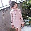 Трикотажное платье-свитер с высоким воротом для девочек детская одежда вязаный свитер с длинными рукавами, красный, черный, белый цвет, Осен...