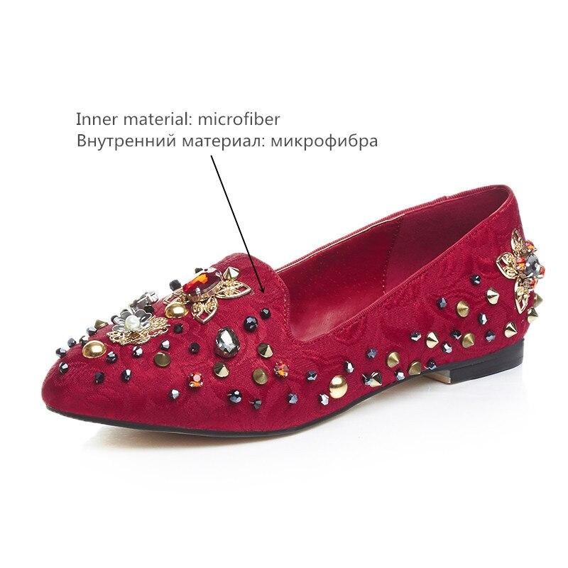 Red Nouvelle Appartements Asumer noir Haute Qualité Noir Femme De Plat Rouge 2019 Printemps Dames Mode Automne Strass Rivets Femmes Chaussures xodBrCe