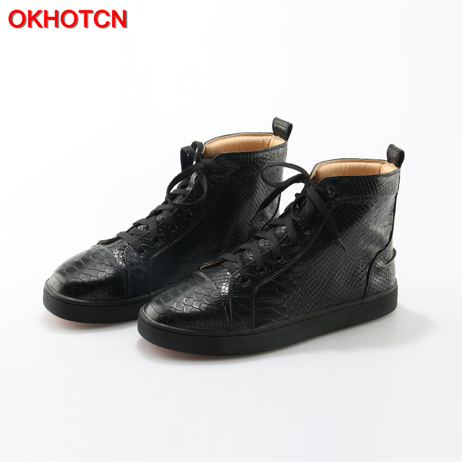 Black High Top Men Casual Shoes Genuine Leather Lace Up Snake Zapatos De Los Hombres Shoes Plus Size Waterproof Leisure Sneakers faux fur white winter boots