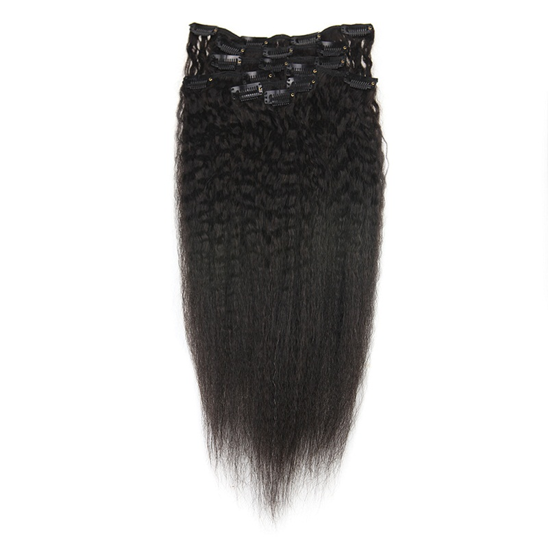 Full Shine Natural Curly Clip In Human Hair Extensions Remy Human Hair Clip For Black Women Natural Black 7 Pieces 100gram