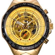 3bbb3d6e7c3 2018 VENDA QUENTE marca MCE relógio mecânico Automático para Os Homens De  Luxo de Ouro Esqueleto Relógios cinta de aço Inoxidáve.