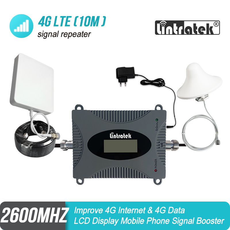 Lintratek MINI 4G LTE 2600 MHz Cellular Signal Booster B7 FDD 2600 Repeater Amplifier 4G Antenna+Ceiling Antenna+10m Kit S39