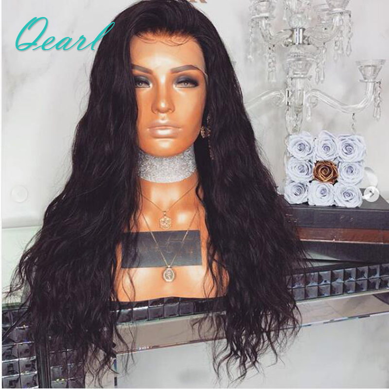 Qearl Hair Natural Wave Lace Front Human Hair Wigs Pre Plucked Hairline 250% Full Density Brazilian Remy Hair Lace Front Wigs