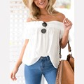 2016 Women Sexy Chiffon Blouse Slash Neck Off Shoulder Short Sleeve Ruffles Elegant Blusas Femininas Casual Loose Summer Tops