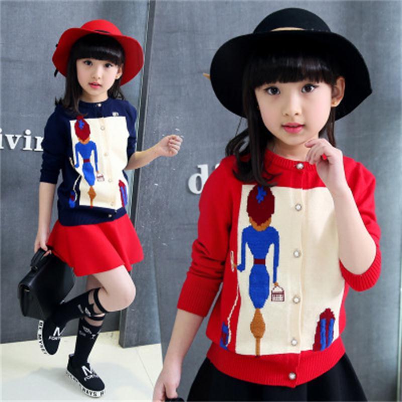 2018 Neue Frühjahr Und Herbst Mädchen Pullover Strickjacke Koreanische Weibliche Großen Kinder Stricken Strickjacke Süße Schönheit Pullover