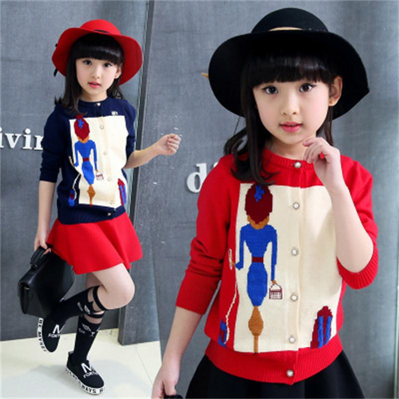 2018 New Spring And Autumn Girls Sweater Cardigan Korean Female Big Children's Knit Cardigan Sweet Beauty Sweater Delicacies Loved By All