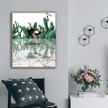 Ostrich Cactus Watercolor Canvas Painting Calligraphy Poster Print Decorative Picture for Living Room Bedroom Home Decor
