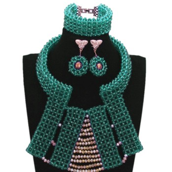 Dudo Store Fine Jewelry Set For Celebrity Party Women Teal Blue Nigerian Bridal Beads Necklace Bracelet Earrings 3 Pcs Set 2019