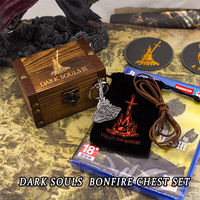 Fun Dark Souls 3 Bonfire Chest Set Anime Fashion Metal Key Chain Pendant Key Rings Christmas Game Gift With Wooden Box