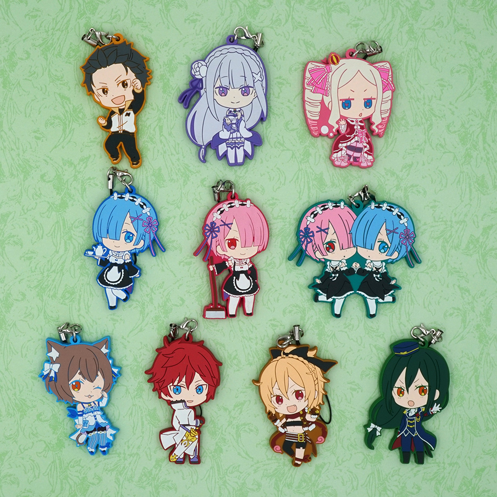 Emilia Rem Ram Natsuki Subaru Beatrice Felt Felix Anime Re:Zero kara Hajimeru Isekai Seikatsu Japanese Rubber Keychain anime re zero kara hajimeru isekai seikatsu rem white pu short zero wallet coin purse with interior zipper pocket
