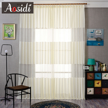 Aosidi Modern Striped Tulle Curtains For Living Room Bedroom Window Sheer Blinds Finished Voile Drapes
