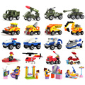 4pcs/set Bus Police Truck City Plane ship Motorcycle fire fighting truck girl Building Blocks Toys kits Compatible with Legoeing