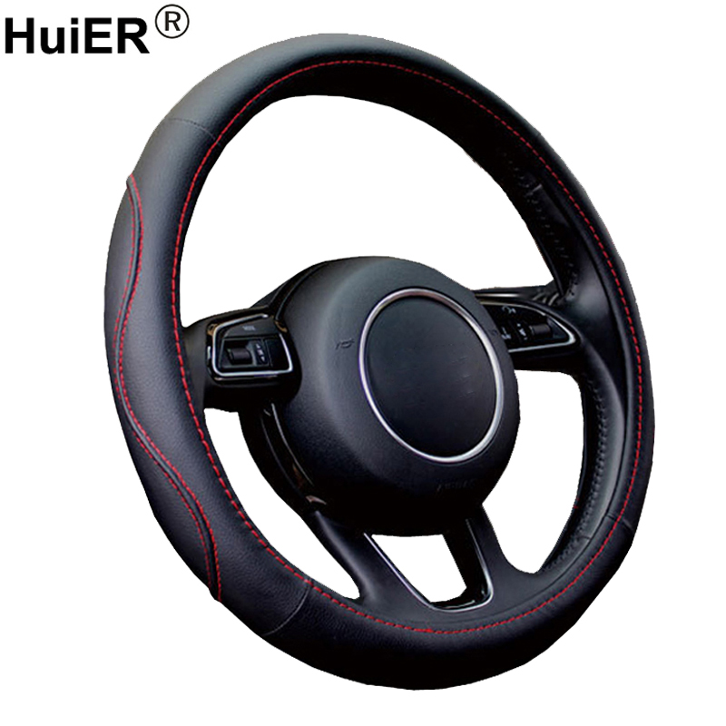 HuiER Car Steering wheel Cover High PU Leather Anti-slip 37-38CM/14.5-15 Auto Steering-Wheel Car Styling Steering Wheel Cover diameter 38cm carbon fiber car steering wheel cover for peugeot 206 2003 206 cc 2005 car styling