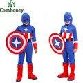 Trajes de Halloween para crianças Meninos Capitão América Crianças Traje Cosplay Steve Rogers Traje Criança Desempenho Vestido de Super Herói