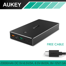 AUKEY Quick Charge 3.0 20000mAh Power Bank Portable Fast Charger Battery for iPhone 8 7 6 Buit-in Charging Cable Compatible 2.0