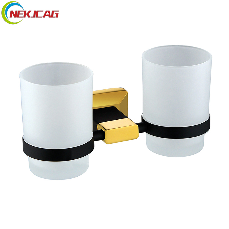 Bathroom Accessories Cup Tumbler Holders Double Cup Hoder 2 Glass Cup with Black Gold Toothbrush Cup Holders