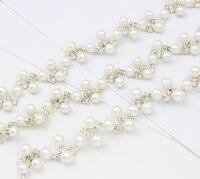 100 ярдов Серебряный горный хрусталь отделкой жемчуг шить Горячая фиксация кристалла отделка для одежды интимные аксессуары