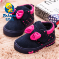 2015 BABAYA Brand Winter flock berber Fleece cute bowtie polka dot warm thick soft girls infant shoes girl ankle baby snow boots