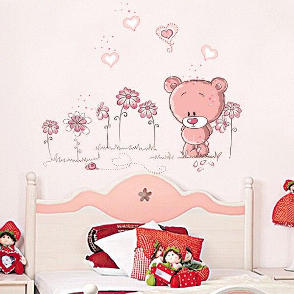 Милый розовый мультфильм животных любовь медведь цветок детские дети спальня декор номеров стены стикеры дети детская этикеты стикер девушка подарок