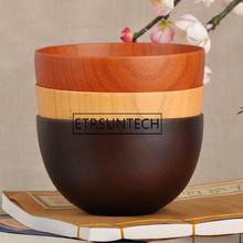 Handmade Chinese Round Wood Bowl Jujube Wooden Fruit Bowls Noodle Rice Food Containers Salad Soup Bowls