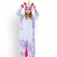 Cute Cartoon Animal Pajamas Rainbow Pegasus Unicorn Pajamas Flannel Hooded Long Sleeve Adult Unicorn Onesie Sleepwear