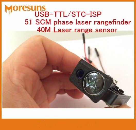 Fast Free Ship USB-TTL/STC-ISP 51 SCM Phase Serial Port output laser range finder module/40M +-2mm Laser range sensor module