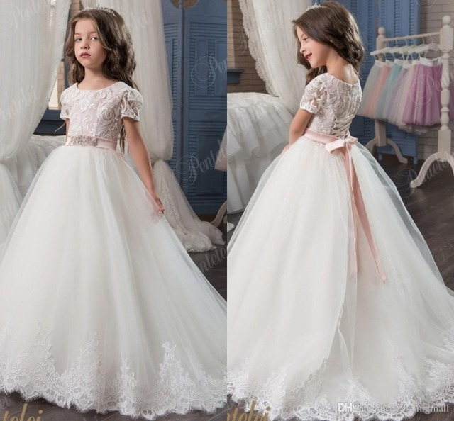 672da9bc08b Princess Lace Arabic 2017 Flower Girl Dresses Vintage Tulle Ball Gown Child  Beautiful Flower Girl Wedding Dress With Sleeves