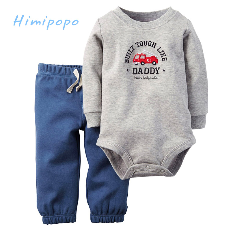 HIMIPOPO Cute Cartoon Print Baby Boys Clothes Set Kids Outfit Toddler Infant Boys Bodysuits Children Set