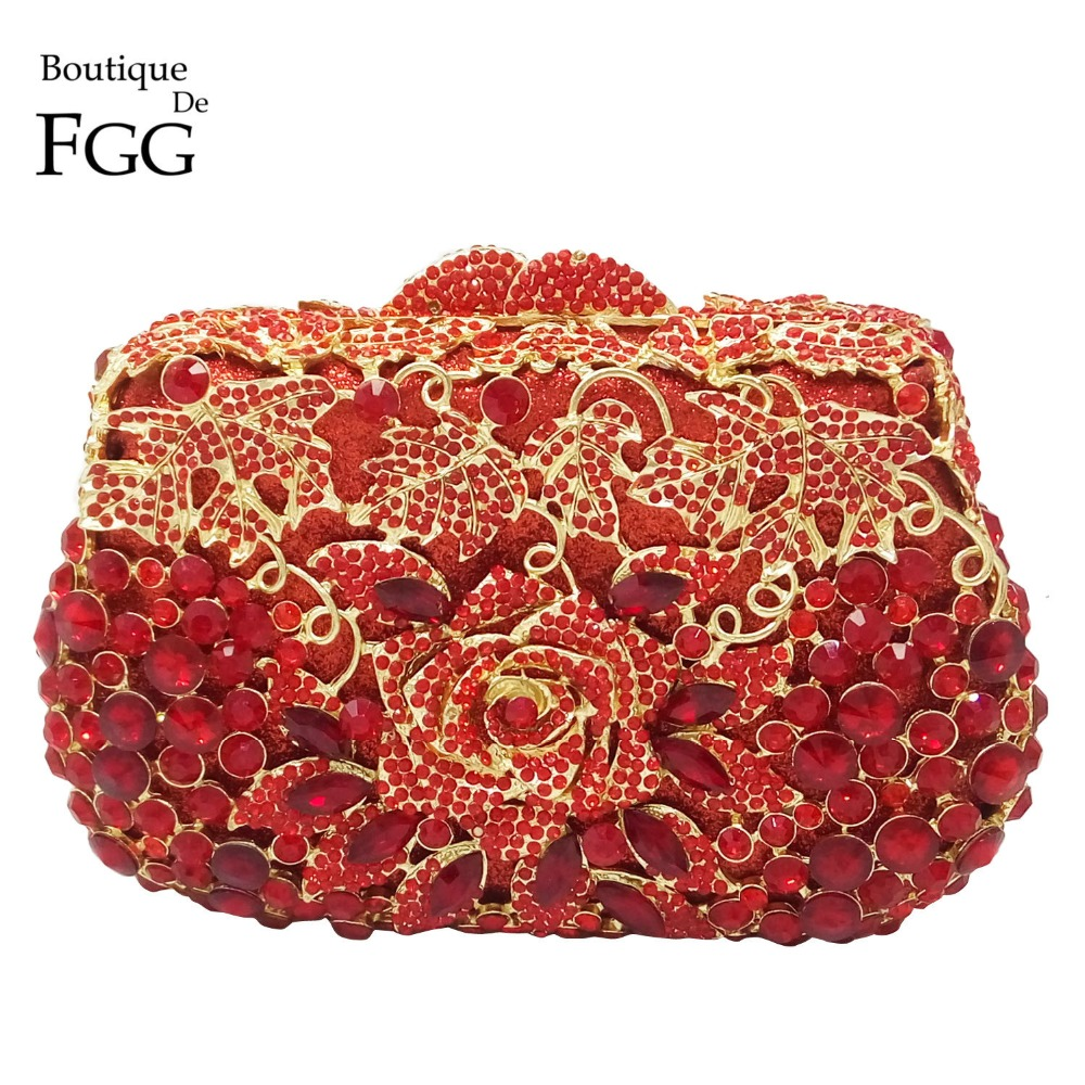 Boutique De FGG Ruby Red Rose Flower Women Crystal Evening Wedding Cocktail Handbags Purses Bridal Metal