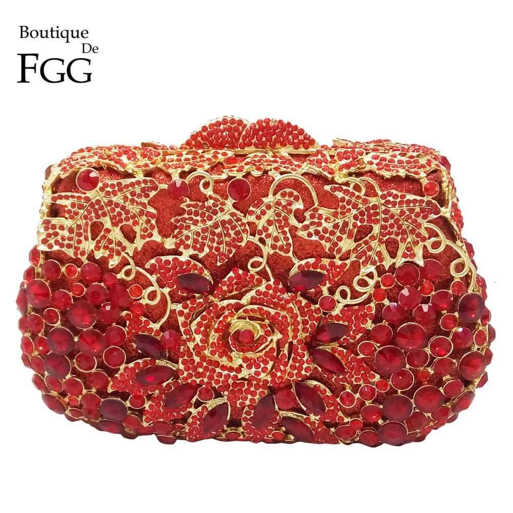 Boutique De FGG Ruby Đỏ Hoa Hồng Hoa Nữ Pha Lê Tối Cưới Cocktail Túi Xách Ví Cô Dâu Kim Loại Minaudiere Túi Cầm Tay