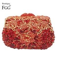 Rose Bloem Rode Kristal Clutch Tassen Handtassen Vrouwen Tas Party Diner Goud Metalen Koppelingen Hol Wedding Bridal Portemonnees