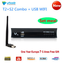 Vmade HD Digital Terrestrial Satellite TV Receiver Combo DVB-T2 DVB-S2 With 1 Year Europe 7 lines Cccam + Wifi Support AC3 IPTV