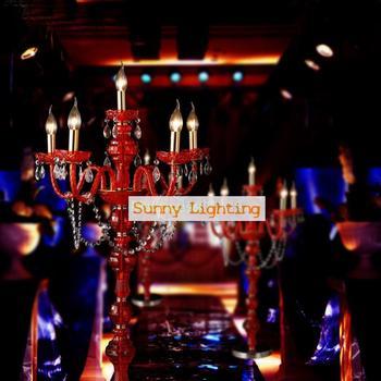 Lampada Da Terra Rossa | Rosso Di Nozze In Vetro Lampada Da Terra Led Candeliere Di Nozze Candelabro Lampada Vintage Partito Complementi Arredo Casa Candeliere Di Cristallo E14 Stand Lampada