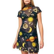 27aff408706c JAYCOSIN 2019 New Summer Women Dress Sexy Transparent Short Sleeve Sun  Planet Moon Star Angel Printed
