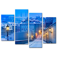 HD Print Paint Modular Frame Wall Home Decoration 4 Panel Beautiful Cities In Winter Poster Modern Living Room Canvas Pictures(China)