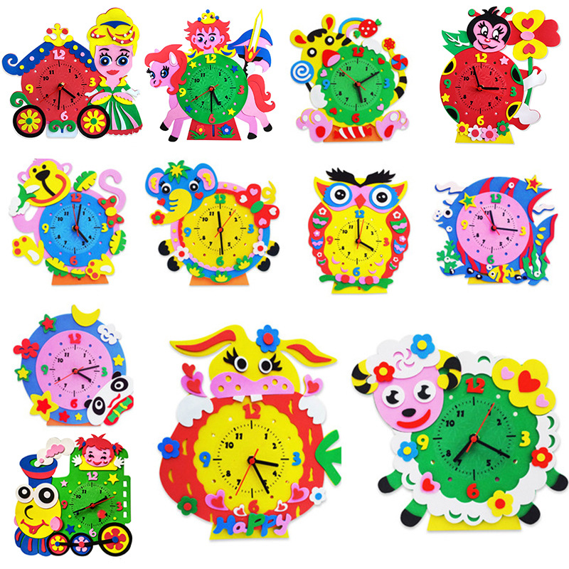 Kids DIY EVA Clock Learning Education Toys Battery Toys Kids Baby 3D Handmade Clock Children Puzzle Boys Girls Craft Toys