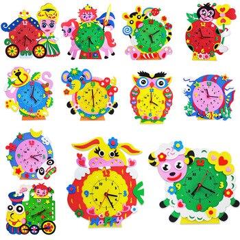 Kids DIY EVA Clock Learning Education Toys Battery Toys Kids Baby 3D Handmade Clock Children Puzzle Boys Girls Craft Toys
