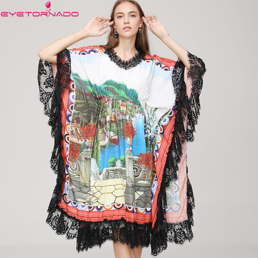 Women Runway Batwing Sleeve Lace Pactwhork Long Casual Oversized Midi Dress Summer Vintage Floral Print Elastic