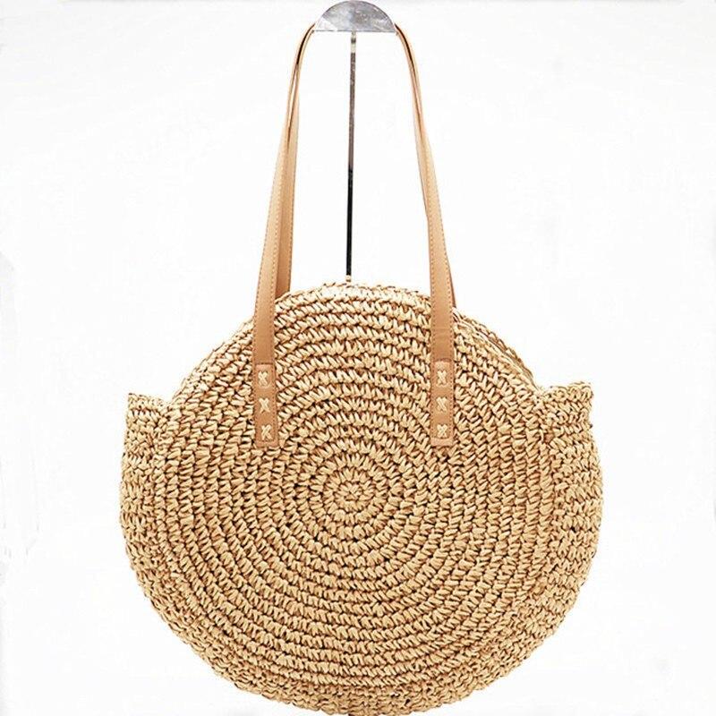 Nouveau Naturel Dames Fourre-Tout grand sac à main à la main-tissé grand sac de paille ronde popularité de paille Femmes Épaule Sac de plage de vacances sac L3