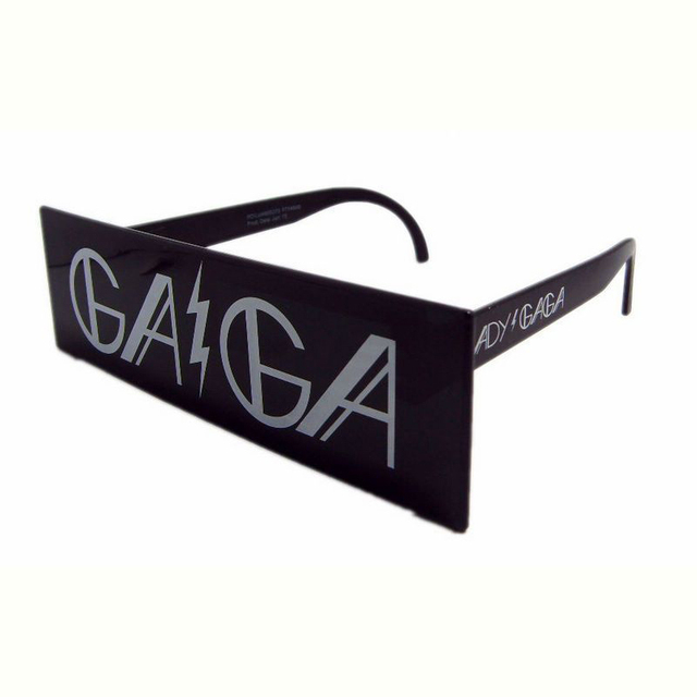 606a7c5a8f Black Ladygaga Glasses Unisex One Rectangle Flat Lens Sunglasses Fashion  Star Style White GAGA Letters Printed Party Eyewear Hot