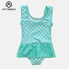 Attraco Baby Girls' One Piece Swimsuits Polka Dot Swimwear Ruffle Kids Bow-Knot Cute Bikini Beach Wear недорого