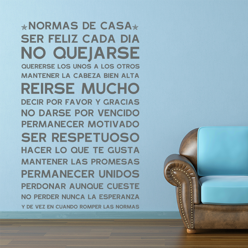 Spanish Version Normas De Casa House Rules Wall Sticker Home Decor