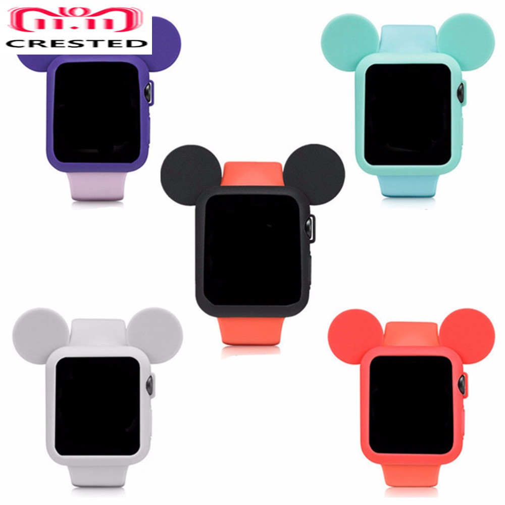 купить CRESTED Cute cartoon protector case cover For Apple Watch 42mm/38mm iWatch band 3/2/1 Mouse ears Soft Silicone protective shell по цене 164.45 рублей
