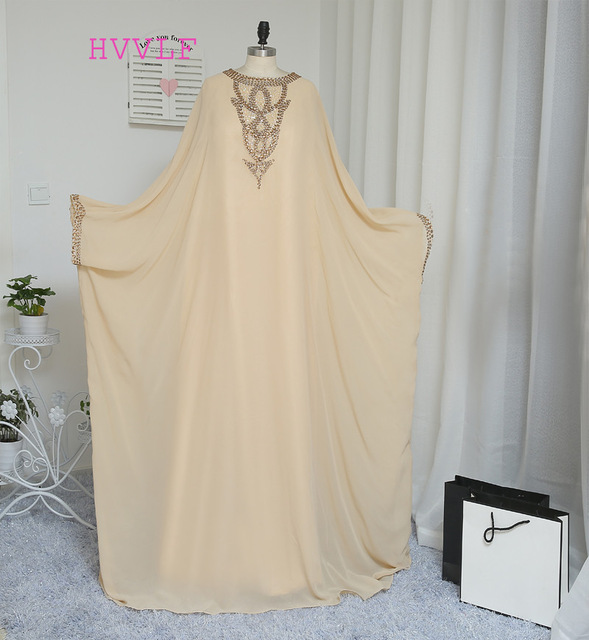 2019 A-line Long Sleeve Champagne Chiffon Crystal Muslim Evening Dresses Islamic Dubai Abaya Kaftan Long Evening Gown Prom Dress