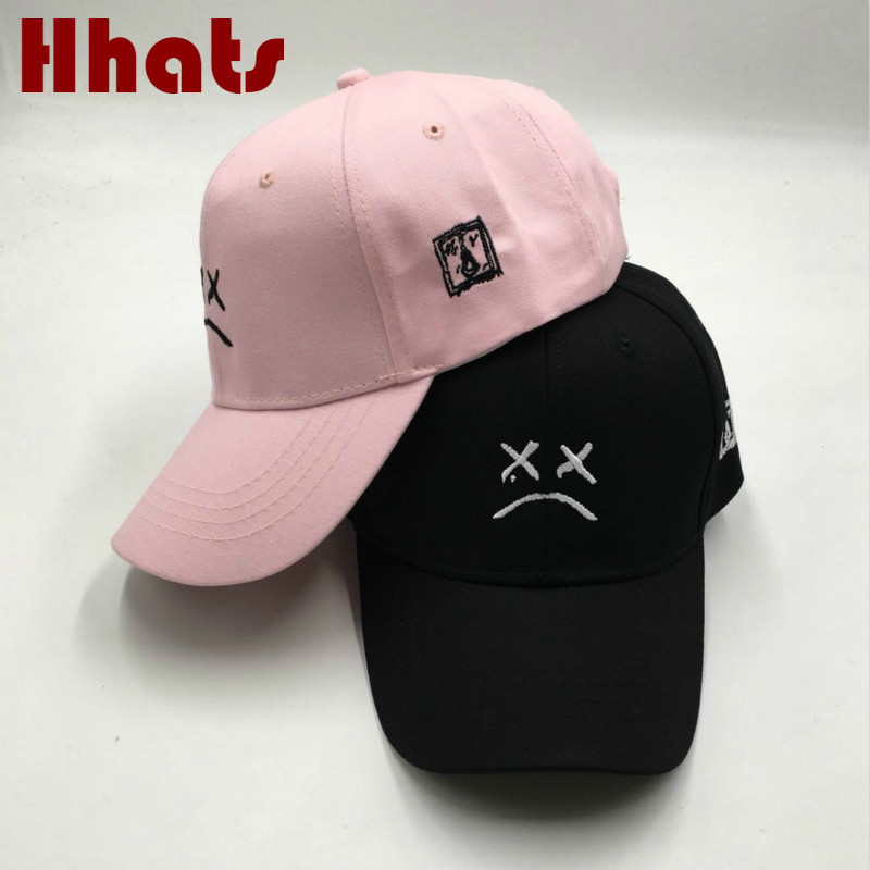 2ef2d04992001 Embroidery Lil Peep Sad Boy Dad Hat For Women Cotton Sad Face K Pop Baseball  Cap xxxtentacion Cap Hip Hop Snapback xxx Male Hat