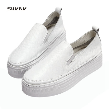 SWYIVY Genuine Leather Loafer Shoes Woman 2018 Platform White Sneakers Female Casual Sneakers New Breathalbe Slip On Pedal